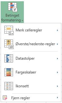 Menyen for betinget formatering i Excel Online