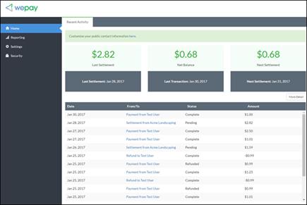 Skjermbilde av opptak: som viser WePay konto management-hjemmesiden