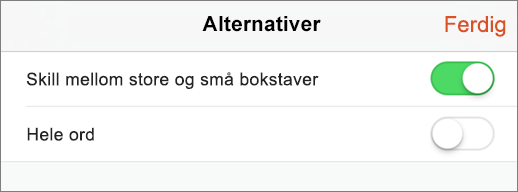Viser Søk alternativer i PowerPoint for iPhone.