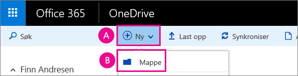 Opprett en ny mappe i OneDrive for business.