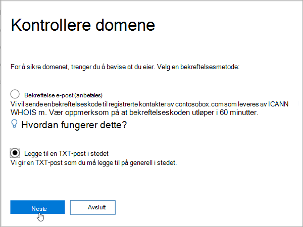 Domainnameshop Velg Legg til TXT i stedet i Office 365_C3_2017627999