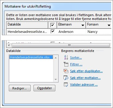 Alternativer for mottakerliste for utskriftsfletting