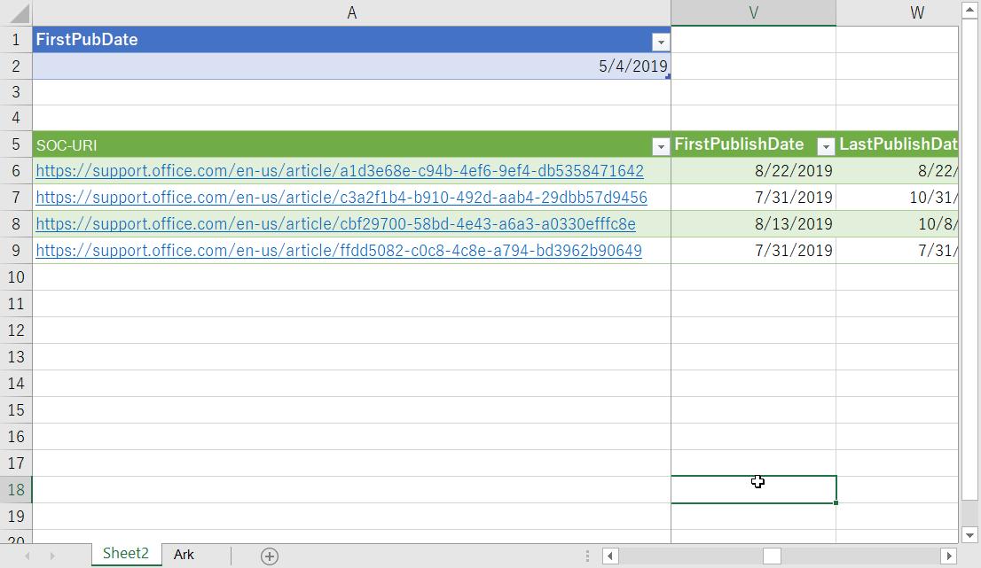 Filtrerte data i Excel