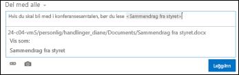 En URL-adresse for et dokument i et nyhetsfeedinnlegg formatert med visningstekst