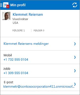 Profilsiden i Yammer-appen