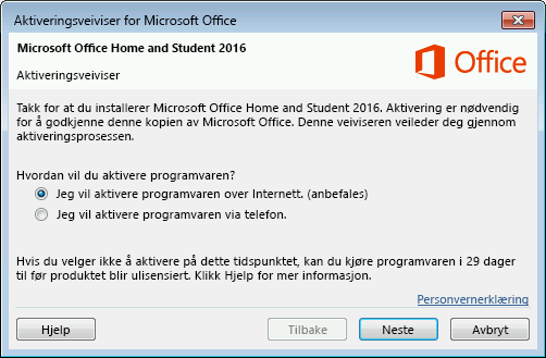 Viser aktiveringsveiviseren for Microsoft Office