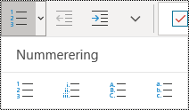 Nummerert liste-knappene på Hjem-båndet i OneNote for Windows 10.