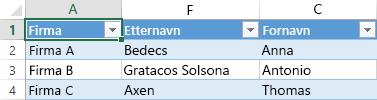 Excel-regneark som viser tre poster med data i tre kolonner