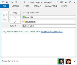 Endret hyperkoblingstekst i en e-postmelding