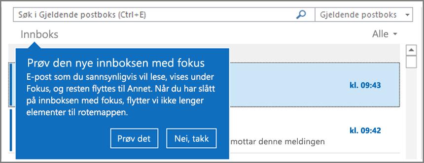 Et bilde av hvordan Innboks med fokus ser ut når den er utrullet for brukerne dine og Outlook er åpnet på nytt.