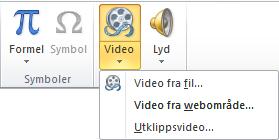 Knappen på båndet for å sette inn en video fra nettet i PowerPoint 2010
