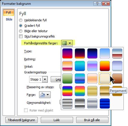 Hvis du vil bruke en forhåndsinnstilt gradering, klikker du på Forhåndsinnstilte farger, og velger et alternativ.