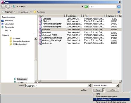 alternativ for å åpne en database i alenemodus