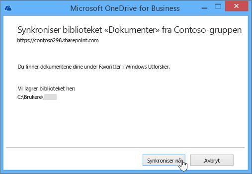 Velg knappen Synkroniser nå, for å starte å synkronisere filer fra gruppeområdet til skrivebordet.