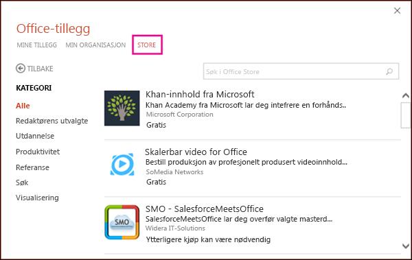 Dialogboksen Office-tillegg med Store-knappen uthevet