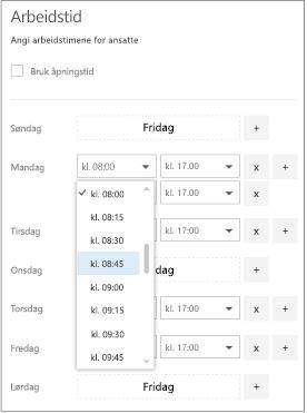 Arbeidstimene med start tid rullegardinliste