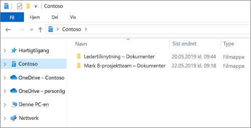 Skjermbilde som viser synkroniseringsmapper for OneDrive og nettsteder.