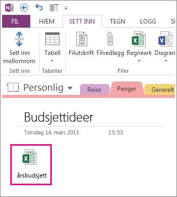 Sette inn en eksisterende Excel-fil