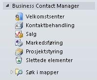 Utvidet mappe for Business Contact Manager i navigasjonsruten
