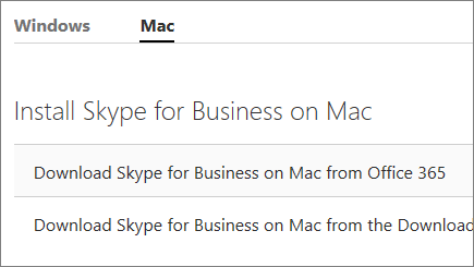 Skjermbilde av siden for installering av Skype for Business på Mac, på support.office.com.