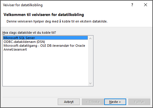 Veiviseren for datatilkobling