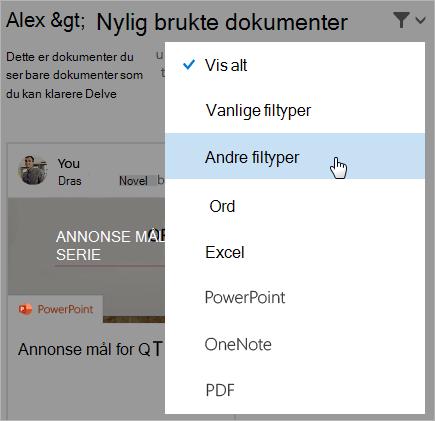 Skjermbilde av nylig brukte dokumenter-siden med filterlisten åpen.
