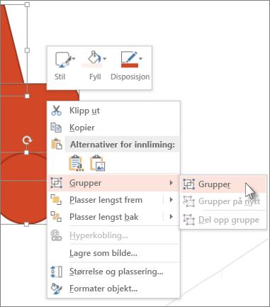 Merke og gruppere objekter i et lysbilde