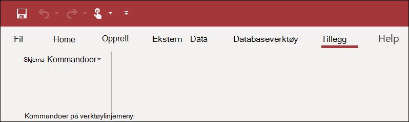 Skjerm bilde av tillegg-båndet i Access
