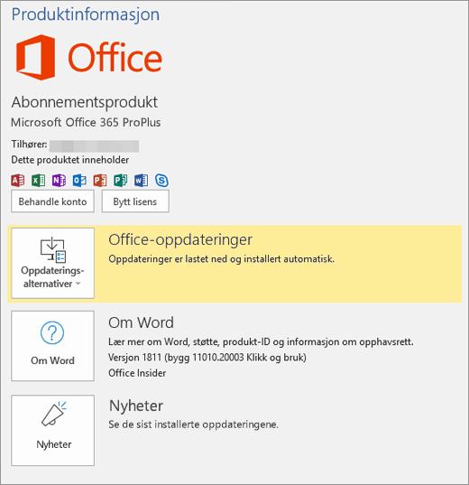 Viser Backstage-visningen i Office 365