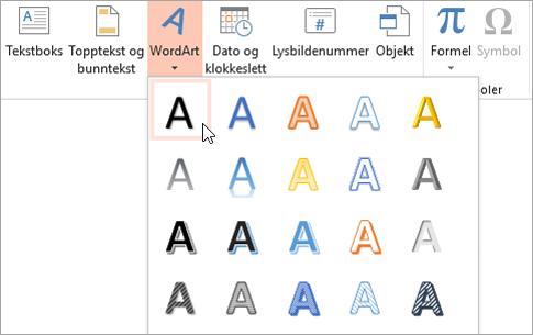 Velge en WordArt-stil i kategorien Sett inn
