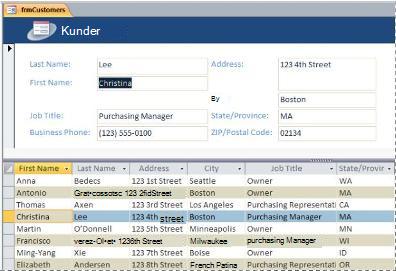 Et delt skjema i en database i skrivebordsversjonen av Access