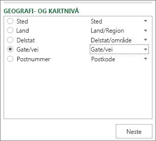 Geografi og kartnivå i oppgaveruten