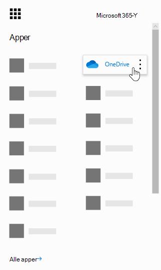 Startprogrammet for apper i Office 365 med OneDrive-appen uthevet