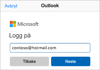 Oppgi e-postadressen på Outlook.com
