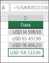 Bruk SUMMER-funksjonen i stedet for hardkodede verdier i formler.  Formelen i celle D5 er =SUMMER(D2:D4)