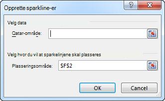 Dialogboksen Opprett sparkline-grafikk