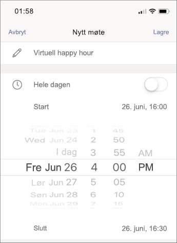 Møte innstillinger – skjerm bilde av mobil telefon