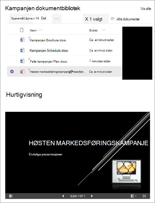 Eksempel på en nettdel for fil visnings program som er koblet til et dokument bibliotek