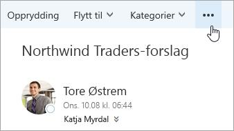 Et skjermbilde av Flere kommandoer-knappen på menylinjen i Outlook.