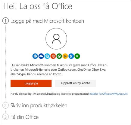 Viser setup.office.com-siden der du kan løse inn produktnøkkelen