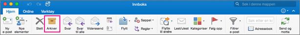 Outlook-båndet med Arkiv-knappen uthevet