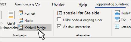 Kobling til forrige-knapp for topp tekst/bunn tekst