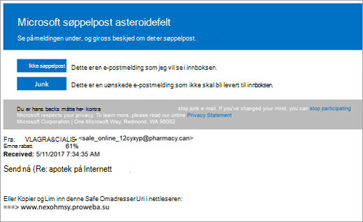 Et skjermbilde av en e-postmelding som søppelpost asteroidefelt