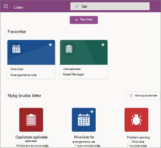 Skjerm bilde av Starts IDen for Microsoft-lister