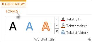 Kategoriene Tegneverktøy og Format