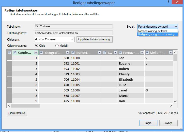 Åpne Redigeringsprogram for spørring fra dialogboksen Tabellegenskaper