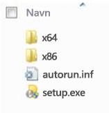 Mappestruktur av plattformvelger for installasjon av 64-bitersversjon av Office 2010.