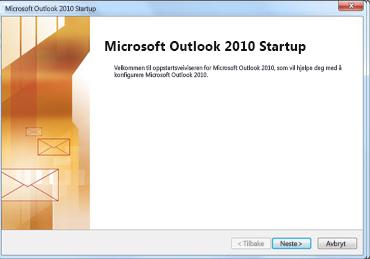 Oppstartvinduet i Outlook 2010