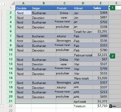 Disposisjon av rader i Excel online