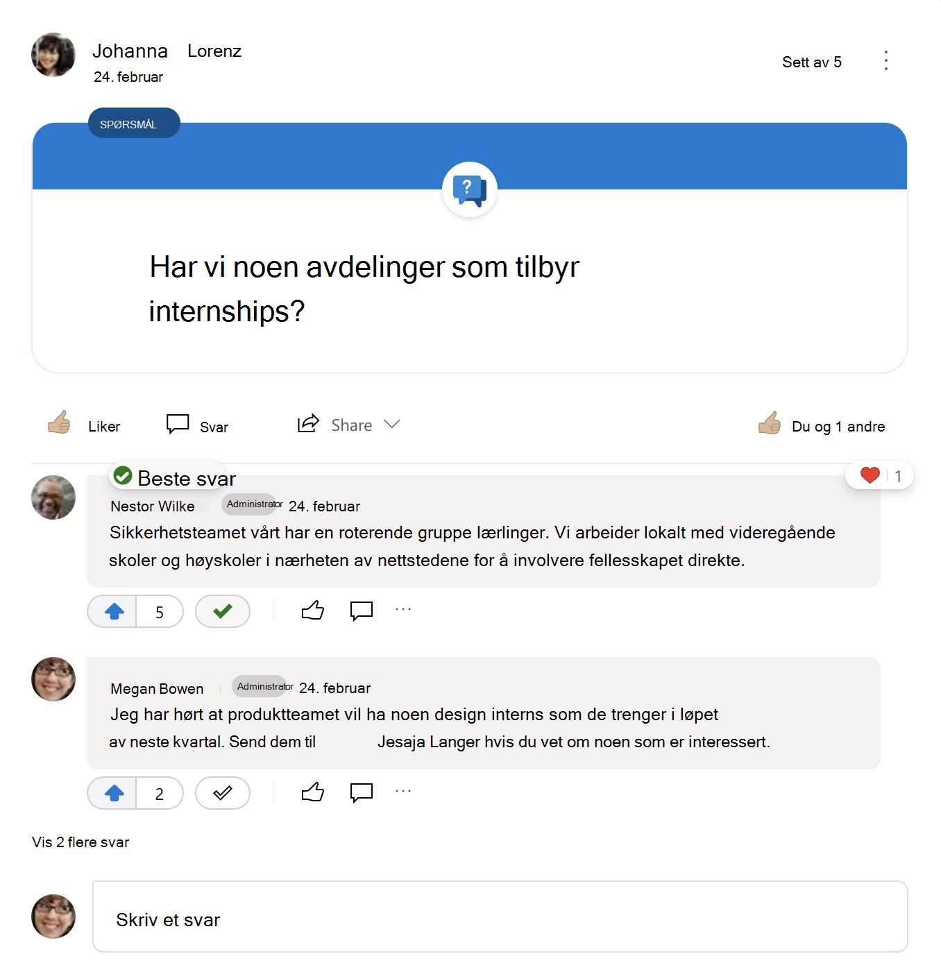 Beste svar på et Yammer-spørsmål
